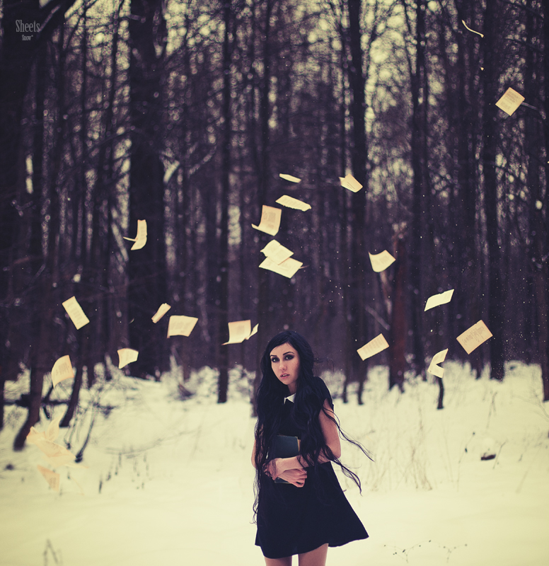macabre, Halloween, Dark, black magic, fashion, peter pan collar, woodland, forest, snow, winter